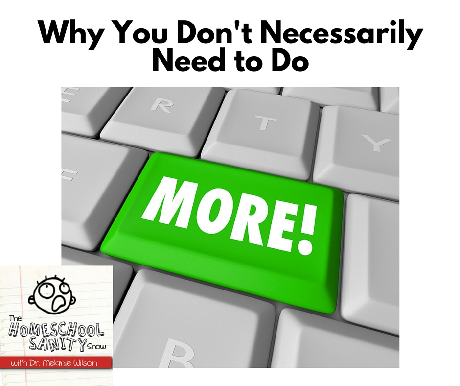 Why You Don't Necessarily Need to Do More: The Homeschool Sanity Show podcast