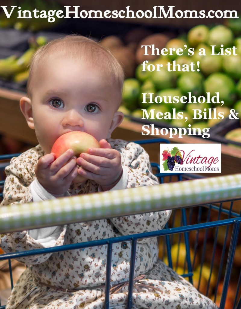 lists for grocery, shopping, household and bills