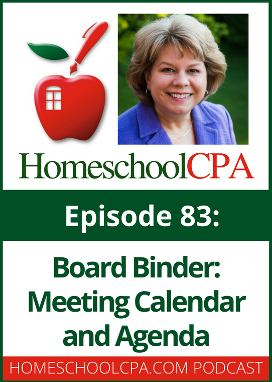 Board Binder: Meeting Calendar and Agenda for Homeschool Organizations