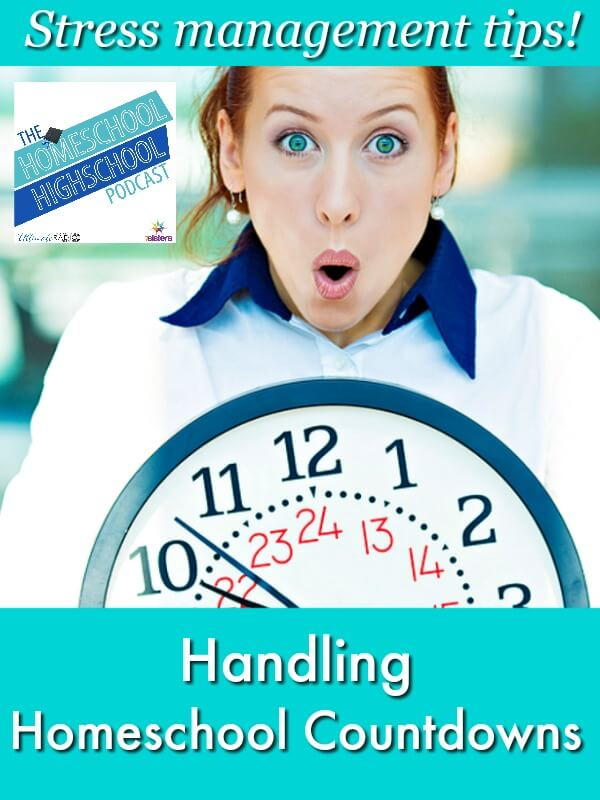 Homeschool Highschool Podcast Ep 131: Handling Homeschool Countdowns. Feeling stress with deadlines coming for your homeschool? Here's how to handle it! #HomeschoolStressManagement #HomeschoolHolidayPlanning #7SistersHomeschool.com This photo shows a surprised woman holding a large clock.