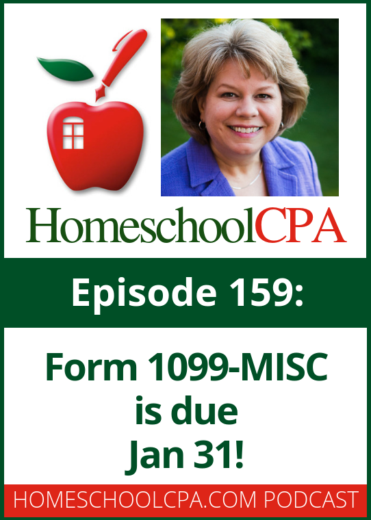 "In today's podcast Carol answers a question form a new Classical Conversations director who asks, ""Do I need to give Classical Conversations a 1099-MISC for the licensing fees I paid to them?""  Listen to the podcast for Carol's reply."