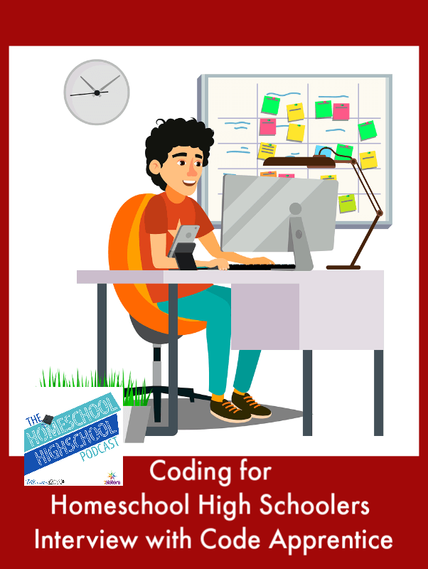 HSHSP Ep 148: Coding for Homeschool High Schoolers, Interview with Paul Drake of Code Apprentice. Teens can learn employable coding skills during high school with training and one-on-one mentors.
