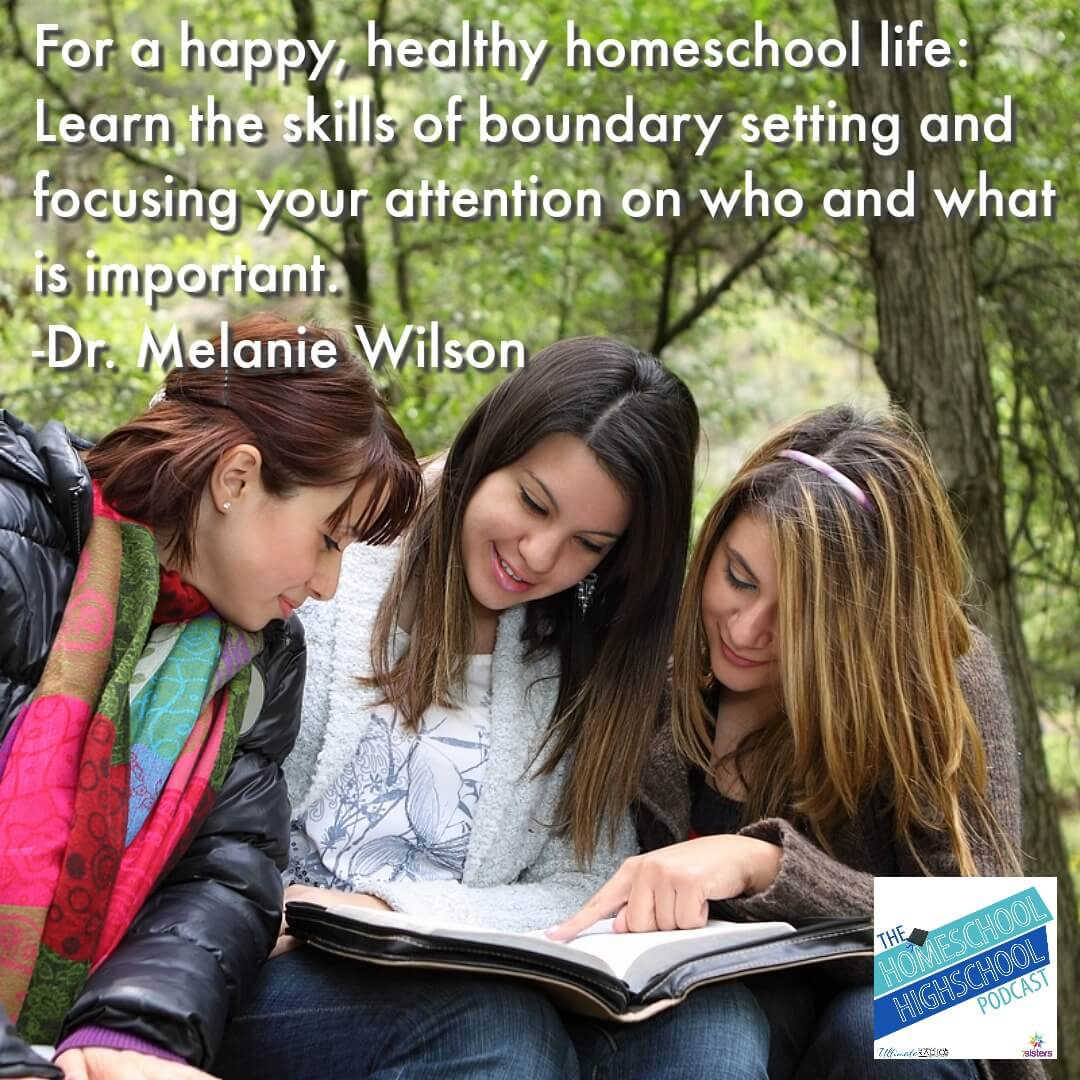 For a happy, healthy homeschool life: Learn and implement the skills of boundary setting and focusing your attention on who and what is important in your life.