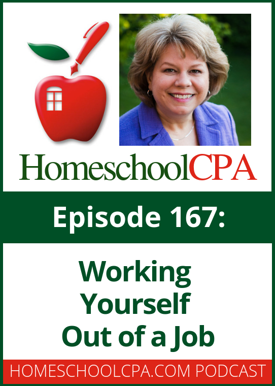 Do you have too many plates spinning? Do you wear too many hats in running your homeschool program?  Learn how to work yourself out of a job in this week's podcast!