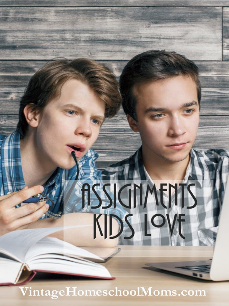 Assignments Kids Love | Are there really assignments that kids love -- yes! Especially when you allow them to study an area of interest. As a homeschool mom, I loved having proof that my children learned and what better way than through assignments. Testing is truly the easy way out. A child memorizes what is on the test and then proceeds to forget. | #podcast #projects #homeschoolpodcast