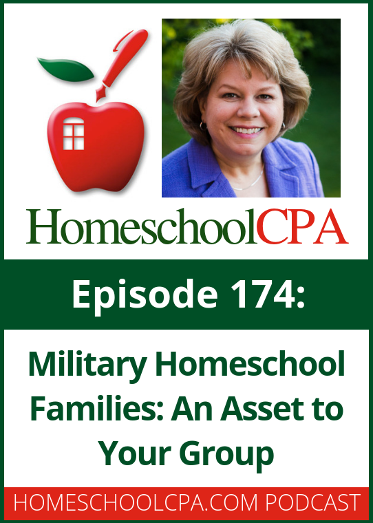 A military family can be an asset to your homeschool group. Find out more on this week's podcast with the Homeschool CPA!