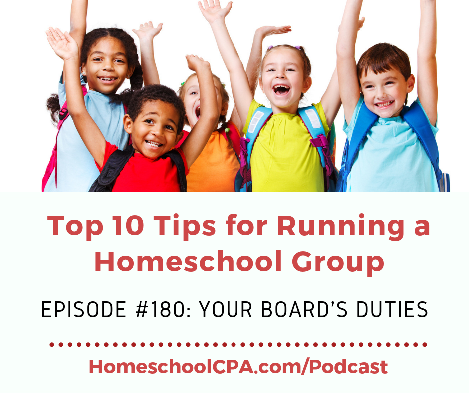 Carol Topp, the Homeschool CPA explains the 4 duties of nonprofit board members: Duty of Care, Loyalty, Compliance and Management.