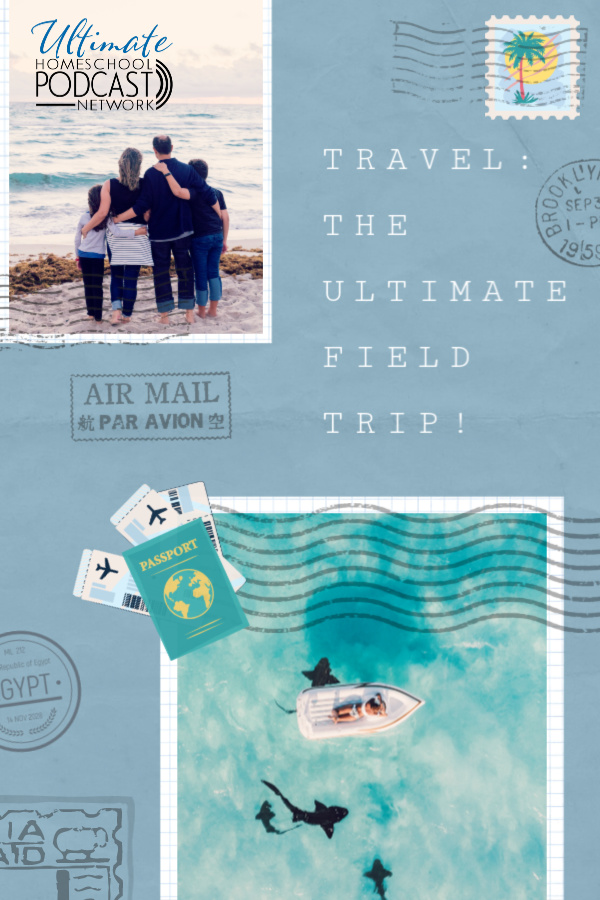 Postcard image with a traveling family on an ocean trip