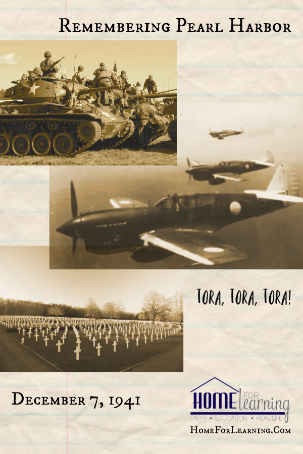 Remembering Pearl Harbor Day and World War Two Sepia toned collage of Mustang planes, WWII tanks and soldiers graves.