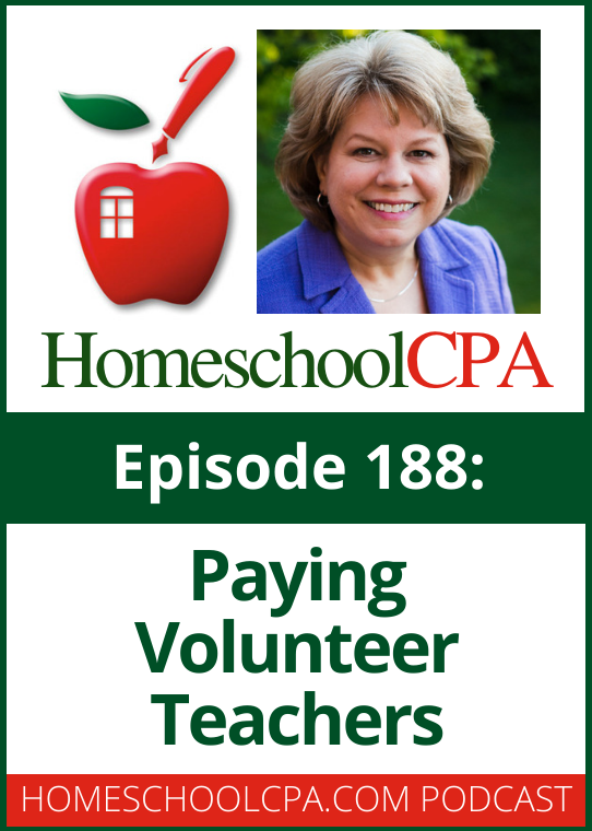 A homeschool leader asks if the way her group pays volunteer teacher is legal.