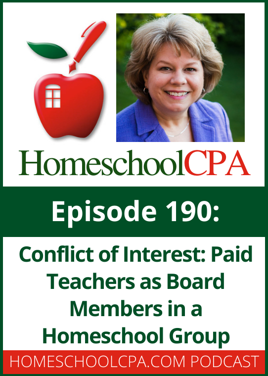 A homeschool leader is concerned about a conflict of interest if she wants to be a board member and paid teacher.
