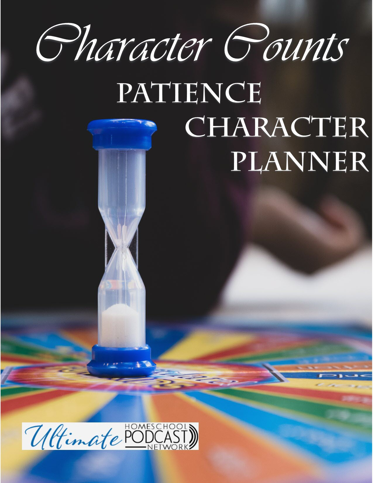 character counts: patience character planner text with image of hour glass on a board game.