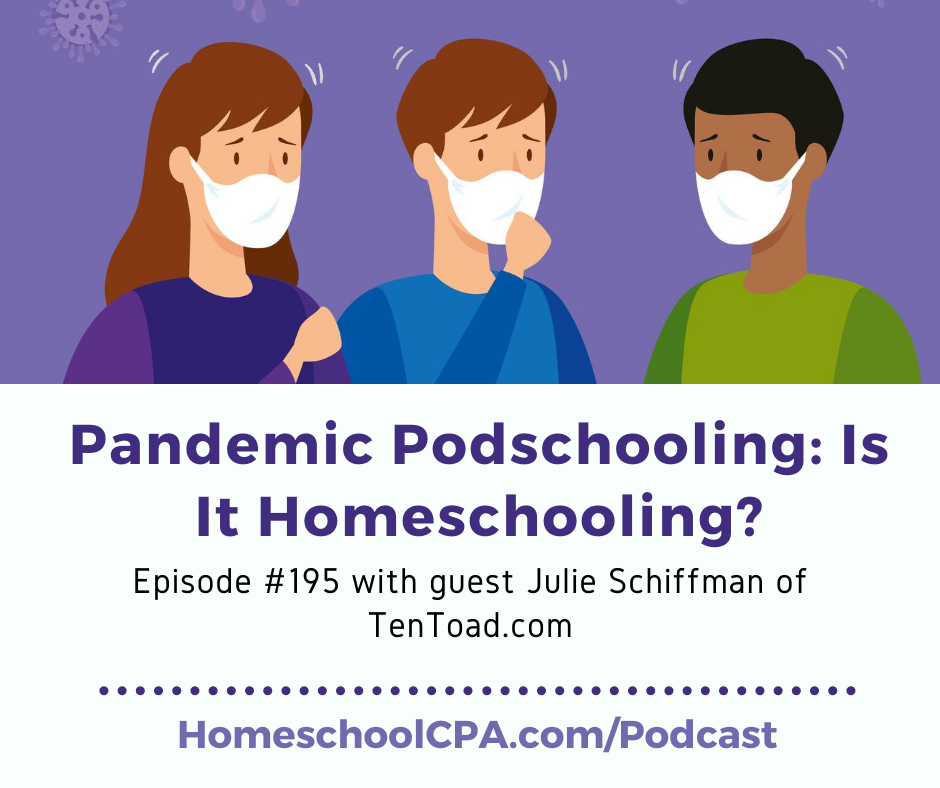 Carol Topp, the Homeschool CPA discusses with guest Julie Schiffman four distinct differences between pod schools and homeschools.