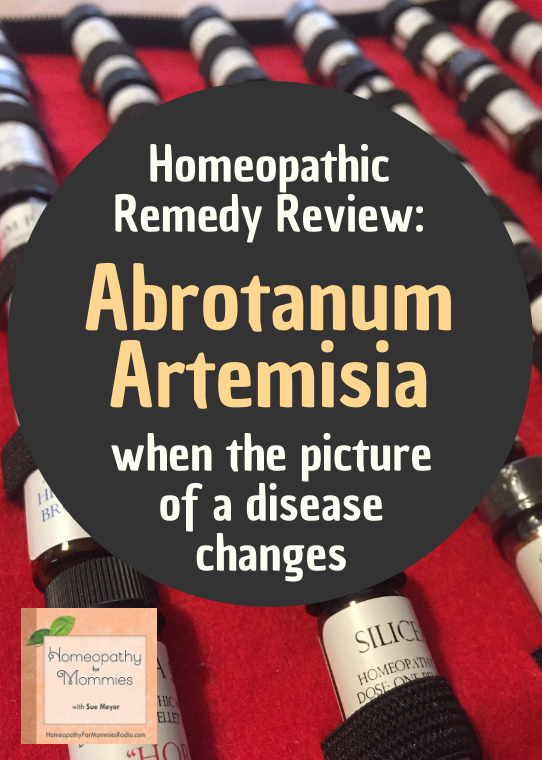 "Abrotanum Artemisia is a remedy that is going to be in my new book and the keynote is ""flu to pyralysis"" and it is seriously an amazing remedy for suppressed symptoms and conditions."