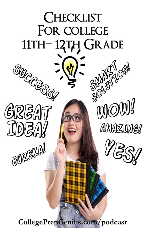 Checklist For College 11-12 | Help to chart your course, a checklist for college 11-12 grades! Not everyone goes to college but if you are planning to go this podcast is for you. This is for grades 11 and 12, so juniors and seniors, this is the podcast for you. It is crunch time for the twelfth grade, and last year of prep for the juniors. You will love this great information! | #podcast #homeschoolpodcast #collegeprep #collegeprepgenius #collegeprep11thgrade #collegeprep12thgrade