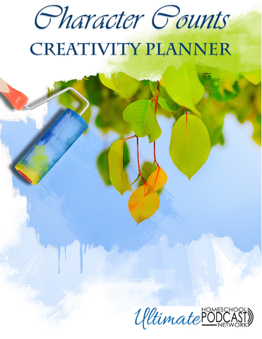 Character Counts Creativity Planner Text with image of paint roller and leaves.
