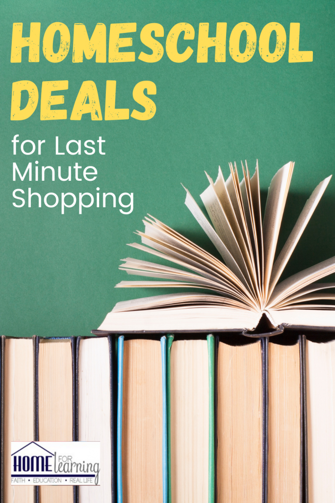 homeschool deals for last minute shopping text with photo of books.